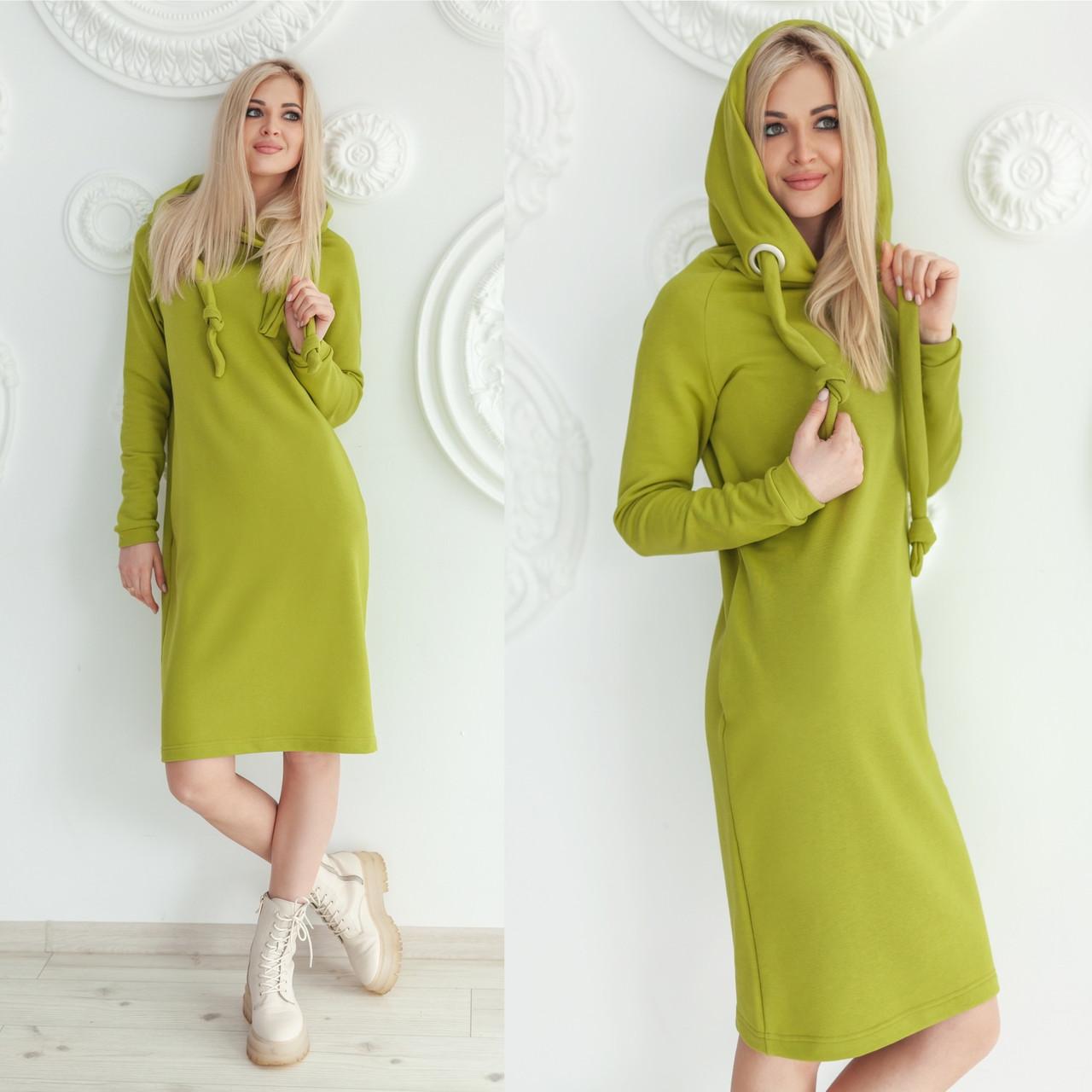 Трикотажне плаття-худі салатового кольору