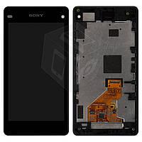 Дисплей + touchscreen (сенсор) для Sony Xperia Z1 Compact (Mini), с рамкой, черный, оригинал