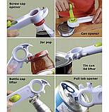 Универсальная открывалка для консервных банок и бутылок Can Opener 6 в 1, Открывашка консервный нож и ключ, фото 6