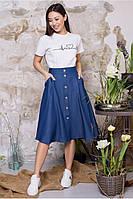 Спідниця Бриз MModa синій джинс 03058-1 46