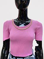 Женский топ с тонкой вязкой однотонный (единый размер 42-48) розовый с тонкой цепью