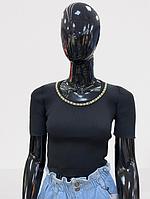 Женский топ с тонкой вязкой однотонный (единый размер 42-48) черный с тонкой цепью
