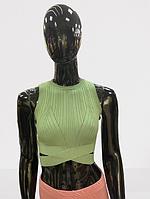 Женский топ с тонкой вязкой однотонный (единый размер 42-46) зеленый