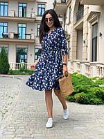 Платье легкое летнее женское синие с воланом в цветочный принт