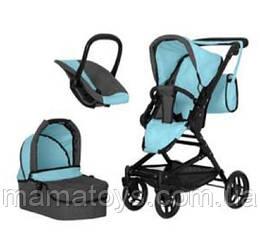Игрушечная коляска Трансформер 9636 BLUE с сумкой 3 в 1 Голубая