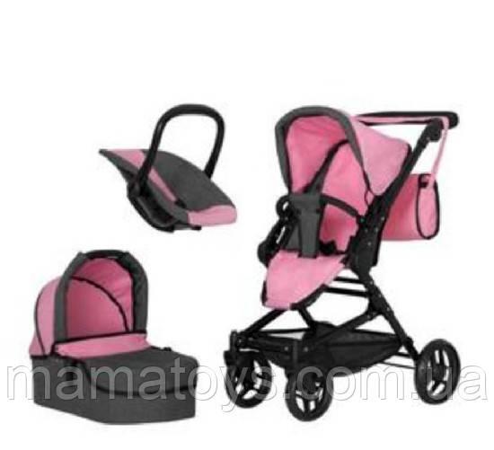 Іграшкова коляска Трансформер 9636 PINK з сумкою 3 в 1 Рожева
