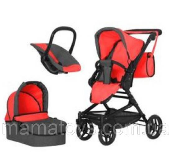 Іграшкова коляска Трансформер 9636 RED з сумкою 3 в 1 Червона