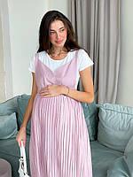 Женский сарафан для беременных WOW MOM Розовый с белой футболкой S-M (1_2008)
