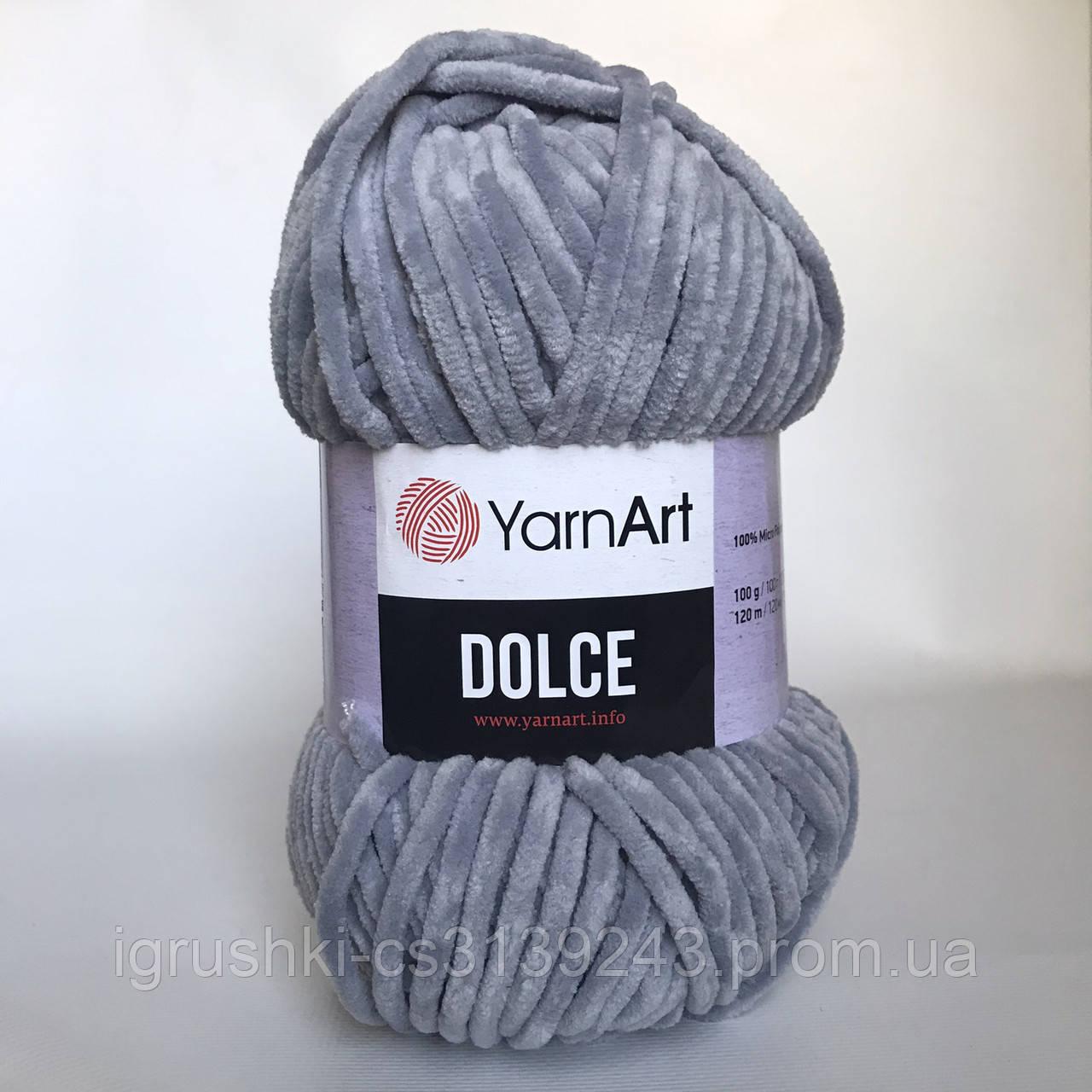 Плюшевая пряжа YarnArt Dolce 782 (ЯрнАрт Дольче) Серый
