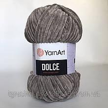 Плюшева пряжа YarnArt Dolce 754 (ЯрнАрт Дольче) Бежево-сірий