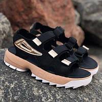 Молодіжні літні жіночі сандалі Fila Disruptor чорні текстильні | Модні відкриті красиві босоніжки Філа, фото 1