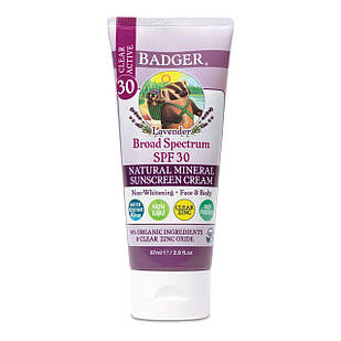 Badger  SPF 30 Lavender Clear Zinc Sunscreen Cream натуральный солнцезащитный крем с цинком 87 мл