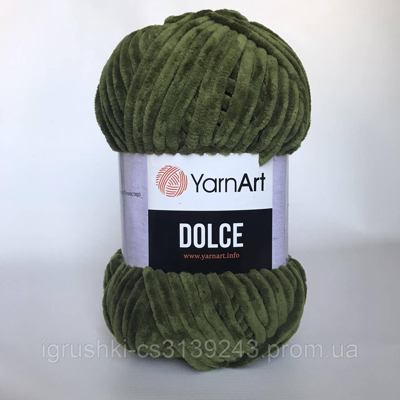 Плюшевая пряжа YarnArt Dolce 772 (ЯрнАрт Дольче) Хаки