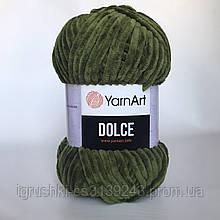 Плюшева пряжа YarnArt Dolce 772 (ЯрнАрт Дольче) Хакі