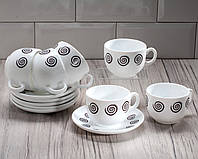 "Сервиз чайный ""Essence Sirocco Brow"" 12 предметный ( 6 чашек 220 мл, 6 блюдец) Luminarc."
