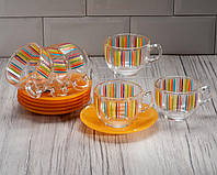 """Сервиз чайный """"Evolution Fizz"""" 12 предметный ( 6 чашек 220 мл, 6 блюдец) Luminarc."""