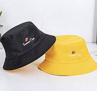 Женские двухсторонние хлопковые шляпы-ведра с двусторонней вышивкой двухсторонняя желтый черный