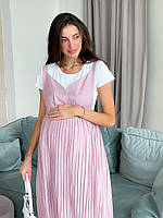 Женский сарафан для беременных WOW MOM Розовый с белой футболкой L (1_2008)