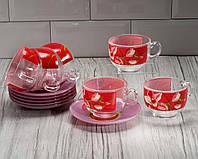"""Сервиз чайный """"Evolution Red orchis"""" 12 предметный ( 6 чашек 220 мл, 6 блюдец) Luminarc."""