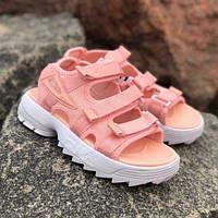 Молодіжні літні жіночі сандалі Fila Disruptor рожеві   Модні відкриті красиві босоніжки Філа, фото 1