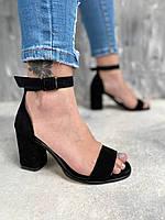 Босоножки женские на каблуке с открытым носком из натуральной замши, чёрные, фото 1