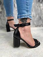 Босоножки женские на каблуке из натуральной кожи под рептилию ,чёрные, фото 1