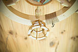 Люстра штурвал деревянная с корабликом на 3 лампочки, фото 2