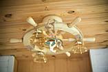 Люстра штурвал деревянная с корабликом на 3 лампочки, фото 3