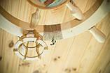 Люстра штурвал дерев'яна з корабликом на 3 лампочки, фото 5