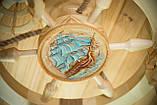 Люстра штурвал дерев'яна з корабликом на 3 лампочки, фото 9
