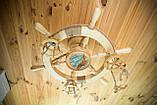 Люстра штурвал деревянная с корабликом на 3 лампочки, фото 7
