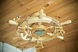 Люстра штурвал деревянная с корабликом на 3 лампочки, фото 4