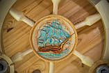 Люстра штурвал деревянная с корабликом на 3 лампочки, фото 6