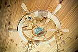 Люстра штурвал дерев'яна з корабликом на 3 лампочки, фото 8