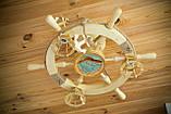 Люстра штурвал деревянная с корабликом на 3 лампочки, фото 10