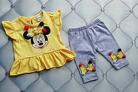 Костюм летний девочке Мини Маус бумбончики Baby Wood 68-80 см желтый с серым