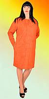 Модное женское платье прямого кроя со сборкой на горловине