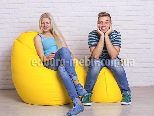 Кресло груша большая + Пуф    желтый кожзам Zeus