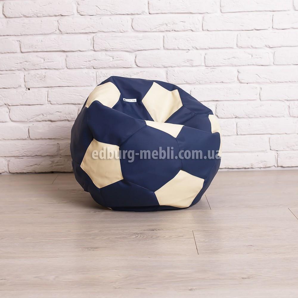 Крісло м'яч 60 см   білий+синій кожзам Zeus