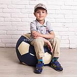 Крісло м'яч 60 см   білий+синій кожзам Zeus, фото 2