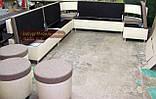 Кухонный диван для большой кухни с пуфами на колесиках, фото 3