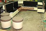 Кухонный диван для большой кухни с пуфами на колесиках, фото 4