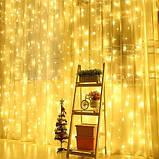 Новорічна декоративна світлодіодна гірлянда штора водоспад для святкового освітлення для будинку, фото 2