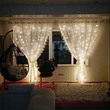 Новорічна декоративна світлодіодна гірлянда штора водоспад для святкового освітлення для будинку, фото 4