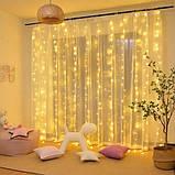 Новорічна декоративна світлодіодна гірлянда штора водоспад для святкового освітлення для будинку, фото 5