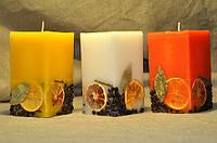 Квадратная свеча ручной работы 15 см