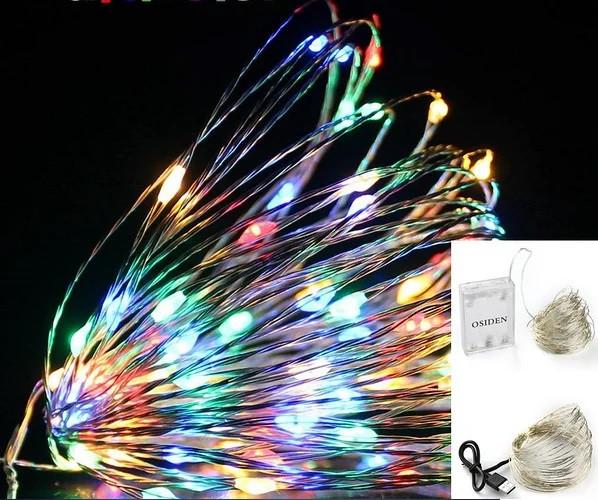 Новорічна LED гірлянда краплі роси для декоративного підсвічування 5 м з блоком живлення. 3 режими світіння