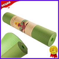 Коврик для йоги и фитнеса зеленый Green Camp 6мм рифленый нескользящий каремат для йоги гимнастики спорта