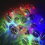 Новорічна декоративна світлодіодна гірлянда з металевими кульками колір. Святкове освітлення для будинку, фото 3