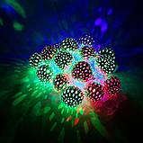 Новорічна декоративна світлодіодна гірлянда з металевими кульками колір. Святкове освітлення для будинку, фото 4